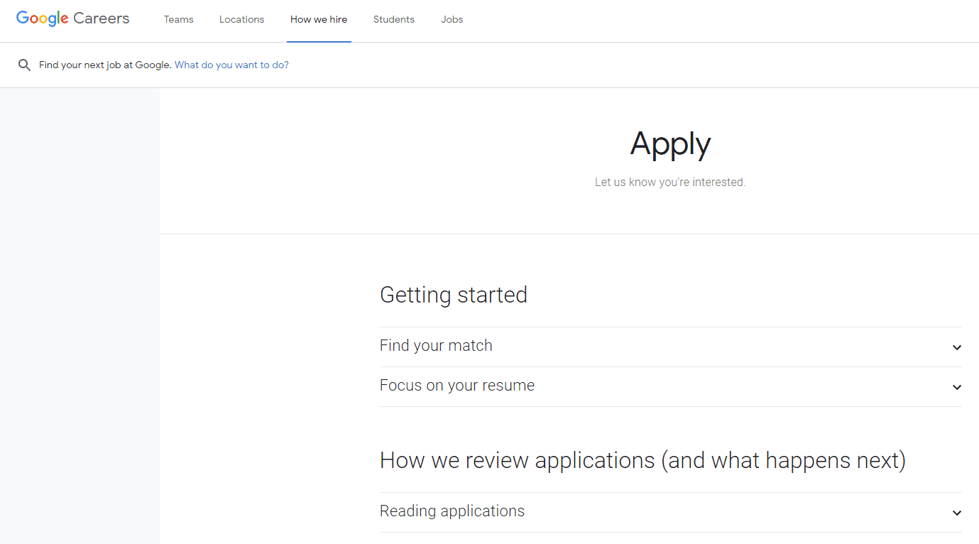 Candidate advice on the Google Application process