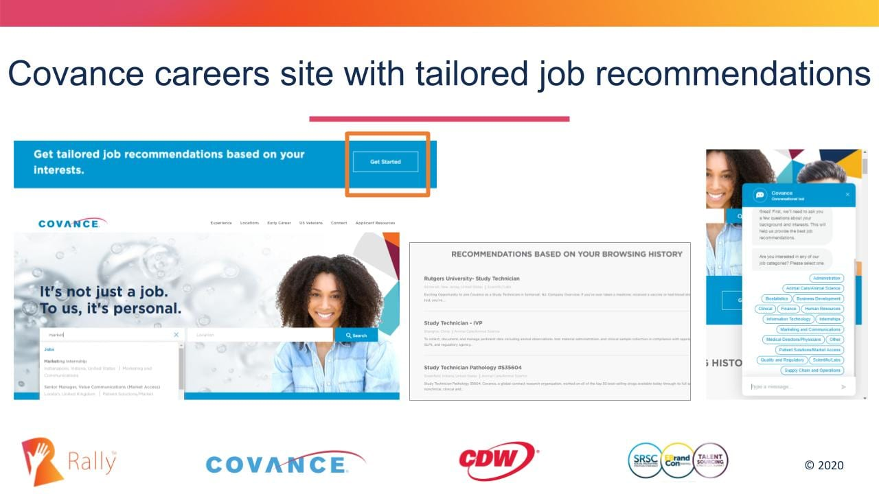 Personalized job recommendations on Covance careers website