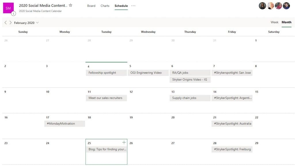 Stryker digital content planner example